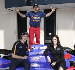 St. Petersburg, Florida USA Team Murray and the Chris Kyle Frog Foundation have created a unique program that will see six military service veterans and first responders from across North America molded into a pit crew for this year's 100th Indianapolis 500 celebrations in May. Pictured are driver Matt Brabham, Taya Kyle, and Pit Crew member David Rutherford ©2016, Michael L. Levitt LAT Photo USA