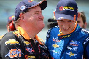 Team Owner, Brett Murray and Matt Brabham share a moment after qualifying